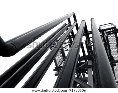 vertical black pipes for gas-filling station LPG - stock photo