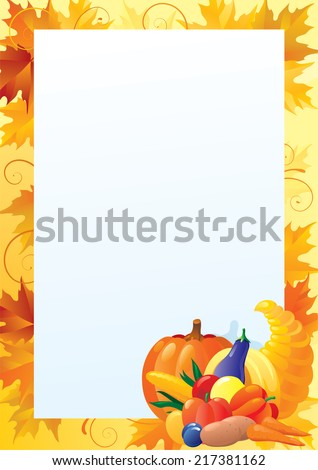 Vertical card for thanksgiving/ Empty blank with  Cornucopia and many Vegetables on ornate background with red, yellow and orange maple leaves.  - stock photo