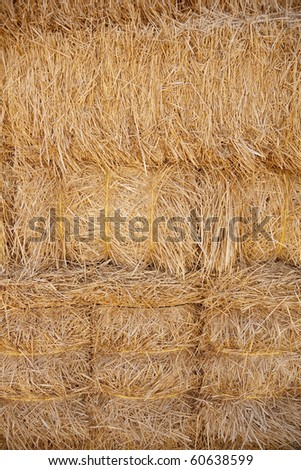 Vertical close up image of a bale of hay. - stock photo