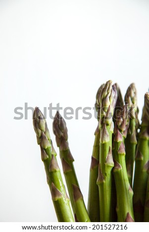 vertical composition of many asparagus on white background - stock photo