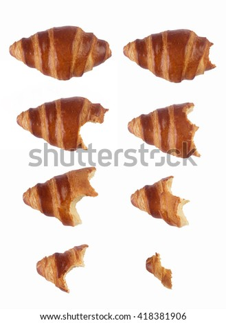 Vertical composition with the process of eating gradually a croissant isolated on white background - stock photo