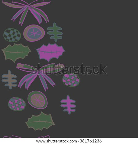 Vertical decorative motif, bow, objects, balls, leaves, spots, hole,pattern, copy space, seamless. Hand drawn.