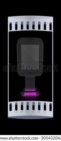Vertical glossy billboard. 3d illustration on black background. The film strip - stock photo