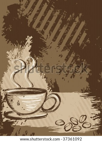 Vertical grungy coffee background (JPG); a vector version is also available - stock photo