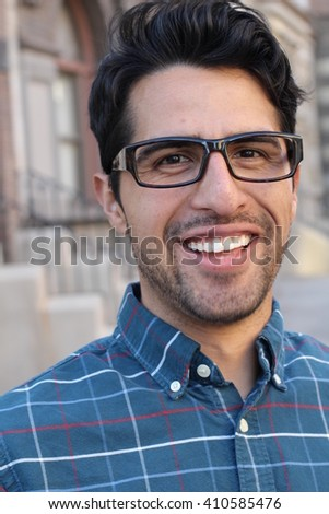 Vertical handsome smiling confident man portrait - stock photo