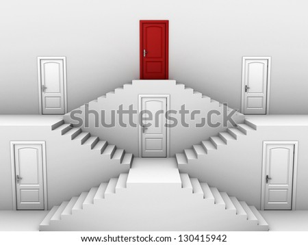 vertical hierarchy - doors on different levels - stock photo