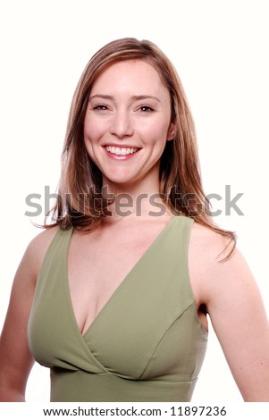 Vertical high-key image of a beautiful, wholesome young woman smiling into the camera. - stock photo