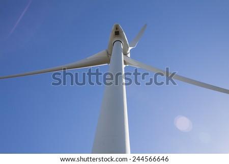 vertical huge green generator  - stock photo