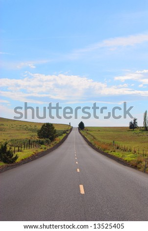 Vertical image of a long, straight road between two green fields against a blue, cloudy sky.  Near Antelope, Oregon. - stock photo