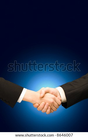 Vertical image of  successful handshake of business people - stock photo
