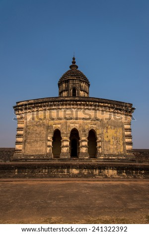 Vertical image of the ancient Lalji temple of Bishnupur, West Bengal, India - stock photo