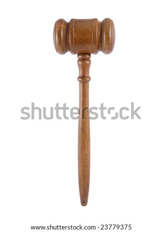 Vertical judge's gavel isolated on white - stock photo