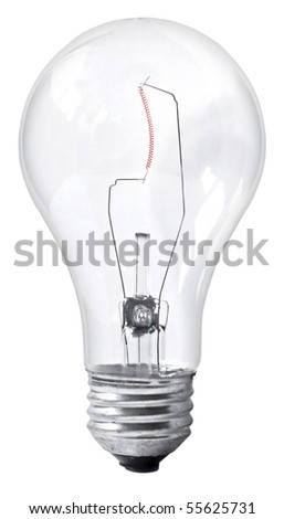 Vertical light bulb isolated on white - stock photo