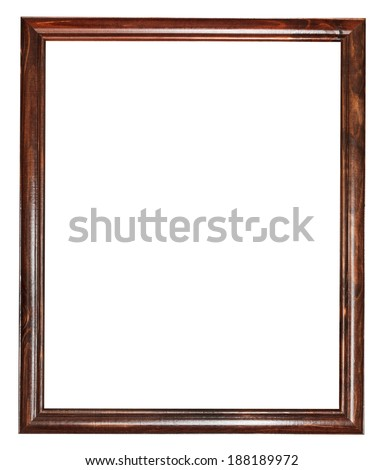 vertical narrow vintage dark brown wooden picture frame with cut out canvas isolated on white background