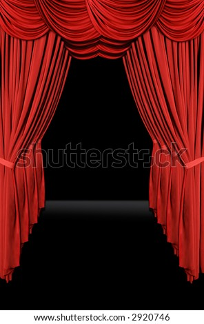 Vertical old fashioned elegant theater stage with velvet curtains leading upstage in an arch - stock photo