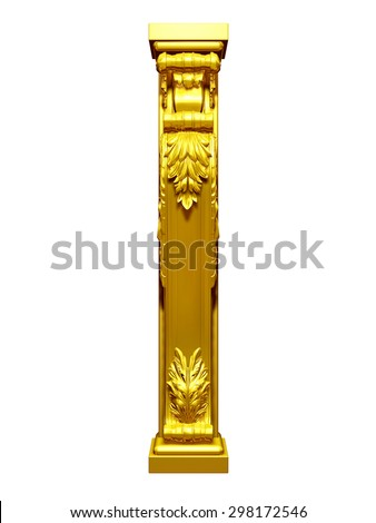 vertical ornamental pilaster in Gold - stock photo