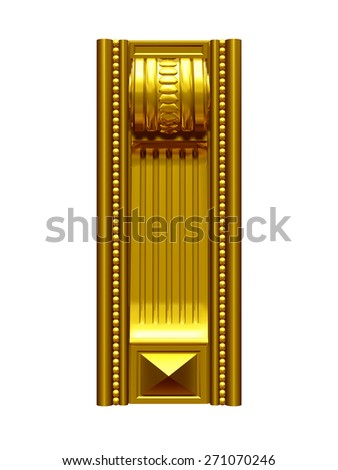 vertical ornamental pilasters in Gold - stock photo