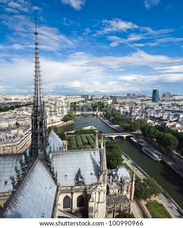 Vertical panorama of the top view of one of the towers of Notre Dame in a usual summer day. Paris. - stock photo