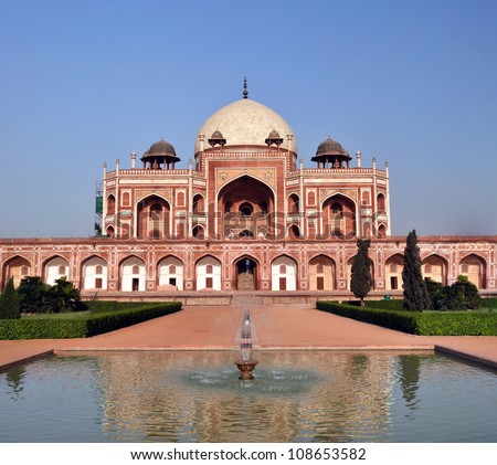 Vertical Panoramic view of historic Humayun's Tomb - one of the most famous Mughal buldings in New Delhi, India. - stock photo