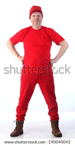 Vertical portrait of adult bald man in red clothes isolated on white background studio - stock photo