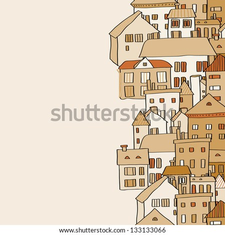Vertical real estate town houses banner seamless pattern in shades of brown. Raster version, vector file also available in my port. - stock photo