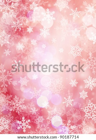 Vertical red Christmas background with snowflakes in different sizes. Snowflakes are drawn from these natural snowflakes.