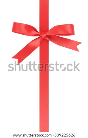 vertical red ribbon with bow from above, isolated on white