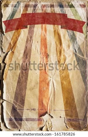 Vertical retro revival sunbeam poster background with a ribbon in color - stock photo