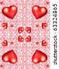Vertical Seamless background with hearts - stock vector