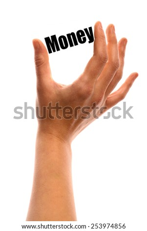 """Vertical shot of a hand holding the word """"Money"""" between two fingers, isolated on white. - stock photo"""