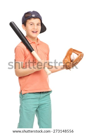 Vertical shot of a junior baseball player with a glove holding a bat and a ball and looking at the camera isolated on white background - stock photo