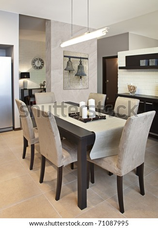 Vertical shot of a modern dining room - stock photo