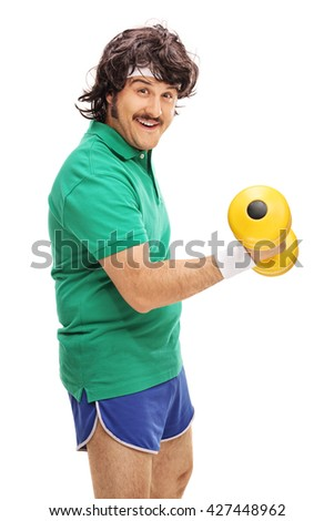 Vertical shot of a retro man exercising with a yellow dumbbell isolated on white background - stock photo
