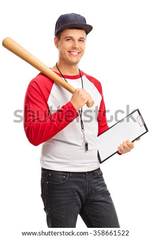 Vertical shot of a young male baseball coach holding a clipboard and looking at the camera isolated on white background