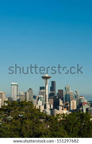 Vertical skyline of Seattle, USA - stock photo