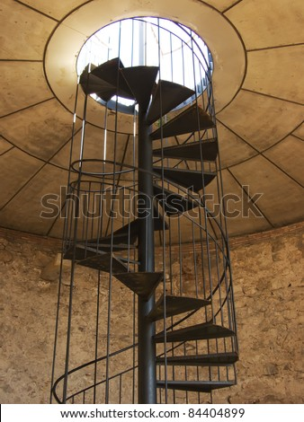 Vertical spiral staircase picture in color - stock photo