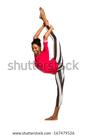 Vertical splits. Latina dancer girl, isolated - stock photo