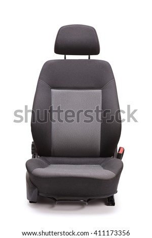 Vertical studio shot of a brand new black car seat isolated on white background - stock photo
