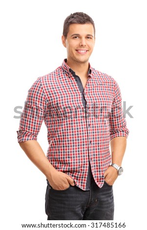 Vertical studio shot of a casual young man posing isolated on white background