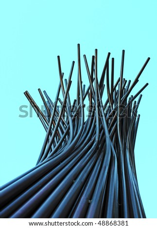 Vertical tubular abstract structure - stock photo