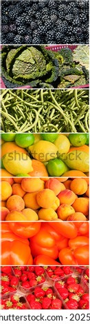 Vertical vegetable rainbow collage - stock photo