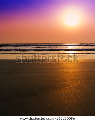 Vertical vibrant unreal dream ocean sunset with tidal waves background backdrop - stock photo