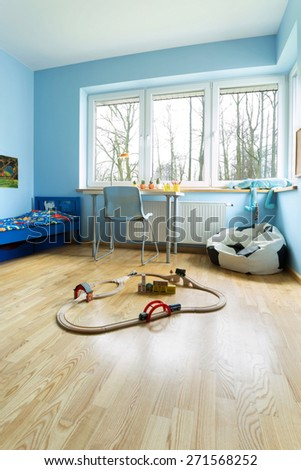 Vertical view of beauty room for little boy - stock photo