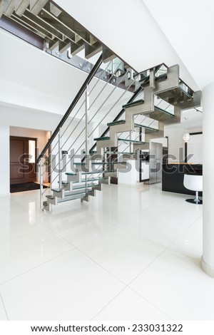 Vertical view of contemporary and luxury interior - stock photo