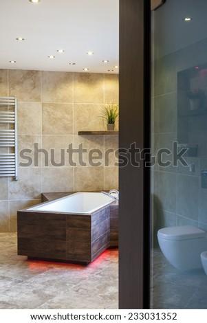 Vertical view of door to luxury bathroom - stock photo