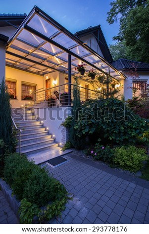 Vertical view of entrance to luxury residence - stock photo