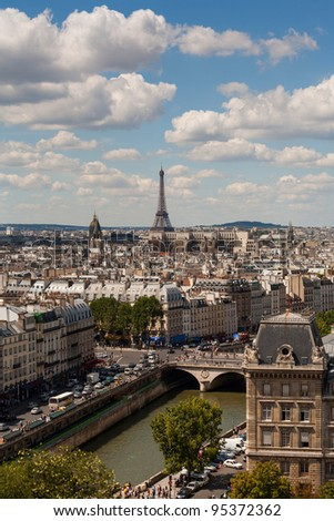 Vertical view of Paris from Notre Dame showing Eiffel tower and Seine in the background - stock photo