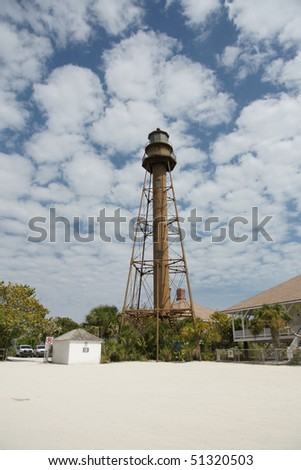 vertical view of sanibel lighthouse - stock photo