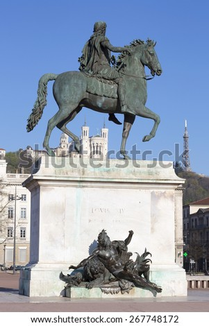 Vertical view of Statue and Basilica in Lyon, France. - stock photo