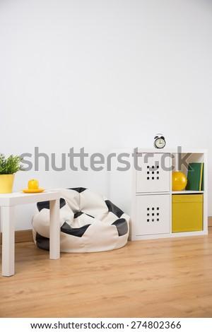 Vertical view of teenager boy room design - stock photo